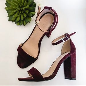 CHARLOTTE RUSSE Suede plum chunky heeled sandal